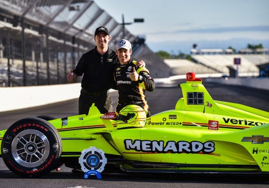 Andy Gryczan (left) is pictured with 2019 Indianapolis pole winner Simon Pagenaud, whose car Gryczan made sure was running at its optimal potential.