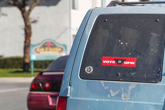 "A car with a ""Vote UFW"" bumper sticker in the agricultural community of McFarland, California, February 12, 2020."