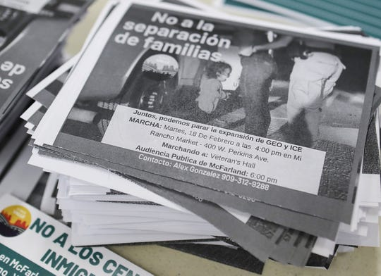 Fliers in opposition to the creation of a new Immigration and Customs Enforcement Processing Center in McFarland, California, February 12, 2020.