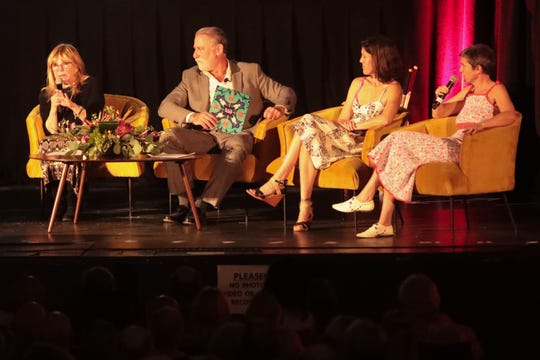 Nancy Sinatra, J.R. Roberts, Amanda Erlinger and A.J. Lambert speak at a benefit produced by Modernism Week for the Plaza Theatre restoration on Sunday, Feb. 16, 2020 in Palm Springs, Calif.