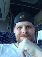 Justin Boomer on the bus to Pennsylvania Adult and Teen Challenge treatment center in 2017 shortly after being revived by naloxone through Narcan.