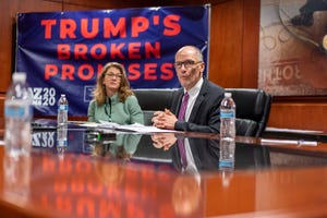 DNC Chairman Tom Perez spoke about Trump's recent proposed budget cuts that would slash funding for Medicaid, Medicare, and Social Security programs during a roundtable discussion on Monday, Feb. 17, 2020.