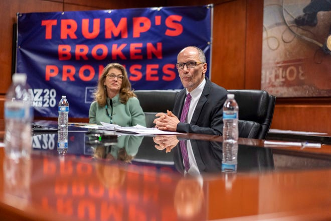 DNC Chair Tom Perez, along with Arizona Democratic Party Chair Felecia Rotellini, discuss with state Representative Raquel Teran, state Representative Kelli Butler.  Arizona community leaders hosted a roundtable discussion to call out Trump's record of broken promises to Arizona families, including his recent proposed budget cuts that would slash funding for Medicaid, Medicare, and Social Security programs on Monday, February 17, 2020.
