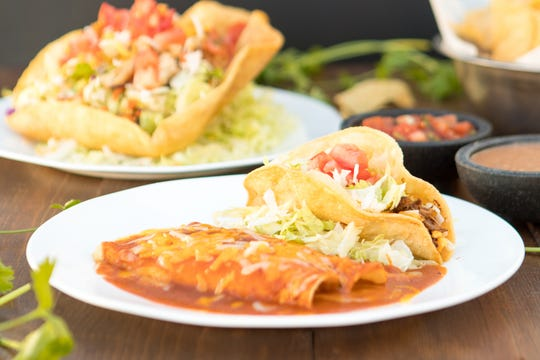 An enchilada and taco lunch special at Serrano's Mexican Restaurants.