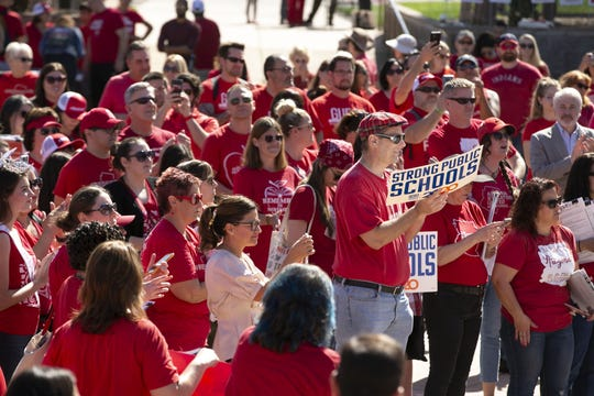 A #RedForEd rally at the Arizona State Capitol in Phoenix on Monday, Feb. 17, 2020. Invest In Ed is throwing a rally for the kickoff of collecting signatures for its ballot initiative.