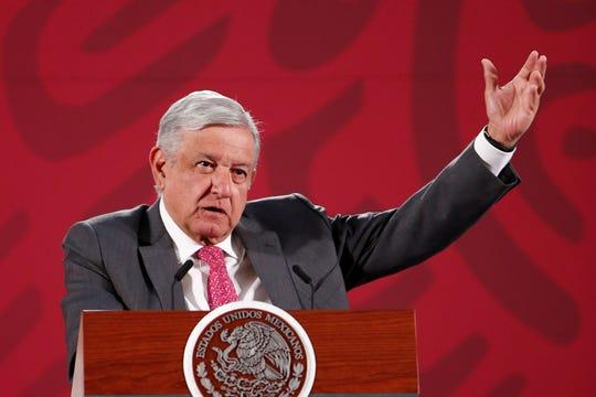 El presidente de México, Andrés Manuel López Obrador, durante su conferencia de prensa matutina, este lunes, en Palacio Nacional, en Ciudad de México (México).