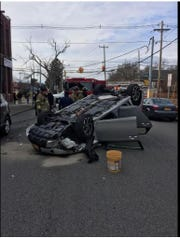 A car flipped after the driver hit the back left side of a parked car sunday afternoon in the City of Newburgh.