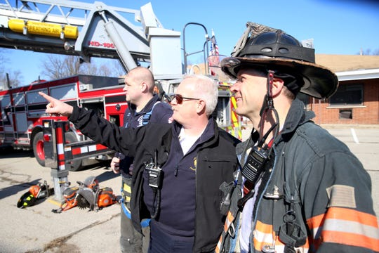 Arlington Fire District, from left Tyler Pettit, Chief William Steenbergh and Chris Quinby discuss aspects of their training at the former Poughkeepsie Inn on February 17, 2020.