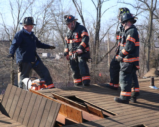 Firefighters from the Arlington Fire District conduct training at the former Poughkeepsie Inn on February 17, 2020.
