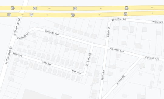 A map of 10th and 11th Avenues, in conjunction with North Sherman Street, Route 30 and Whiteford Road.