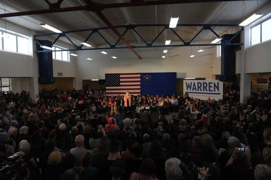 Democratic candidate for president Elizabeth Warren campaigns at Reno High School on Feb. 16, 2020.