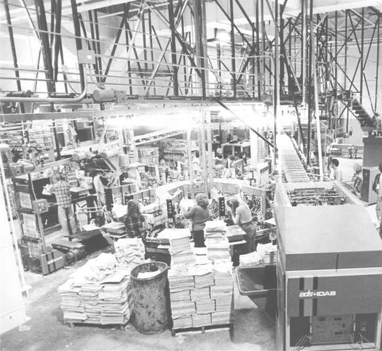 An undated photo of the former press area of the Reno Gazette Journal building at 955 Kuenzli Street.