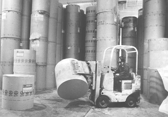 An undated photo of rolls of paper from the Reno Gazette Journal building at 955 Kuenzli Street.
