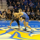 SDSU's Tanner Cook (R) grapples with Stanford's Gabe Dinette on Sunday at Frost Arena