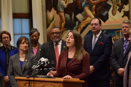 House Minority Leader Crystal Quade, D-Springfield, speaks at a news conference on the recent drop in the state's Medicaid enrollment on Monday, Feb. 17, 2020.