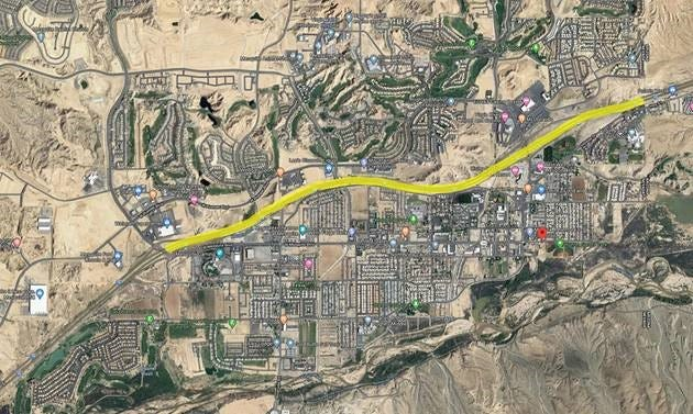 The 5.3-mile stretch along I-15 that will be under construction. The project runs through Mesquite, Nevada.
