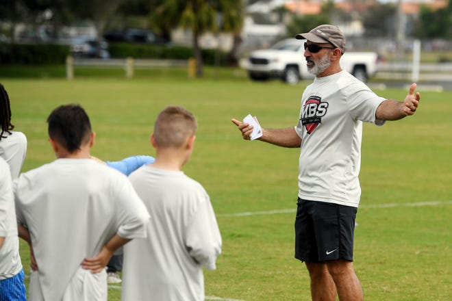 About 40 students grades three through nine gathered at the Jimmy Graves Sports Complex on Monday, Feb. 17, 2020, for a Victory Kids Performance Camp in Vero Beach. The half-day camp, offered for free, teaches youth the fundamentals of throwing, kicking and nutrition in sports.