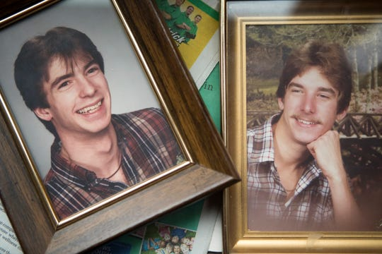 Photographs of Othell Heaney's sons Kevin Heaney, left, and Roger Heaney at her home in Wilmington, Del.