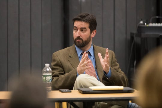 Odyssey Charter School board president Josiah Wolcott resigned from his position on the board during a special meeting of the Odyssey Charter School board Sunday night at the lower school.