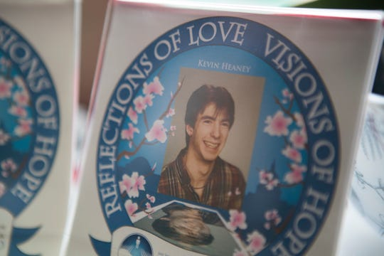 A photo of remembrance sits in Othell Heaney's home for her son Kevin Heaney who died by suicide in 1987.