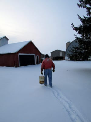 Bob with his bucket heading out to tend to our chickens.