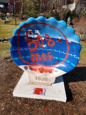 A Scallop Roll statue Plymouth, Massachusetts, was one of at least four of site vandalized overnight Sunday.