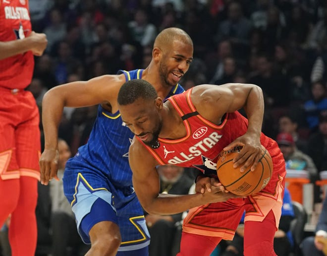 Chris Paul defends Kemba Walker during the 69th NBA All-Star Game.