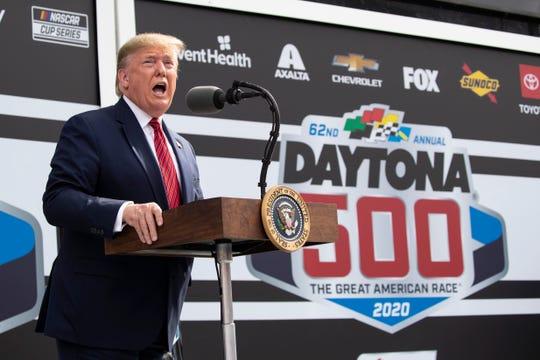 President Donald Trump speaks before the start of the NASCAR Daytona 500 auto race at Daytona International Speedway, Sunday, Feb. 16, 2020, in Daytona Beach, Fla.