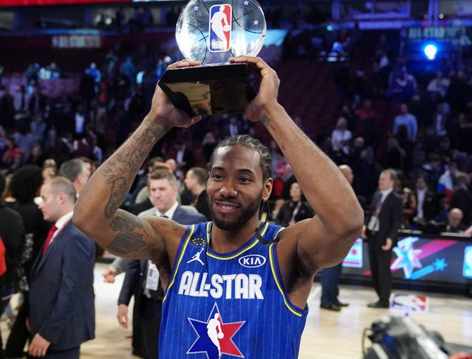 Kawhi Leonard is the first recipient of the newly renamed Kobe Bryant All-Star MVP Award.