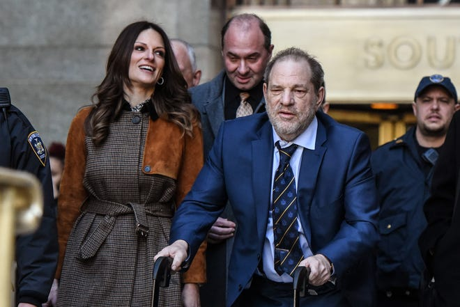 Harvey Weinstein departs his sex-crimes trial with his lawyer Donna Rotunno on Feb. 14, 2020 in New York City.