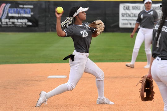 Abilene High shortstop Alyssa Washington (23) throws to first for an out during the season opener against Wichita Falls Rider on Monday. Washington had a hit, an RBI, walked and scored twice in the 11-0 victory in five innings.