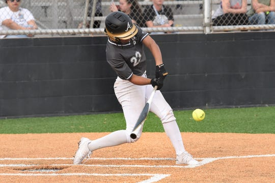 Abilene High's Alyssa Washington (23) swings at a pitch during the 2020 season opener against Wichita Falls Rider. Washington broke the school's career home run record in the second game of the season and finished with 35 before the year was cut short. She signed to play softball at the University of Texas next year.