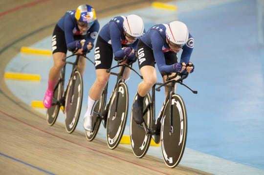 Asheville cyclist Lily Williams, in front, leads off her teammates Jennifer Valente, middle, and Chloe Dygert, left, at the UCI Track Cycling World Cup in Canada this year. Williams will represent the United States at the UCI Track Cycling World Championships in Berlin, starting Feb. 26.
