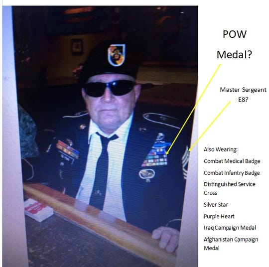 "Ed Caffrey, an Air Force veteran who tracks ""Stolen Valor"" claims, annotated some mistakes in this since-deleted photo from James Glynn's Facebook page. Glynn has claimed to be a retired Army master sergeant. According to a copy of Glynn's military records, left the service in 1972 as a Specialist  Five. He was not a prisoner of war."
