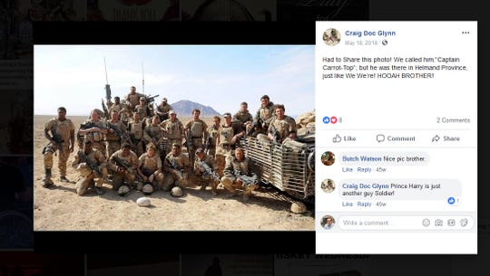 "A since-deleted post from James Craig ""Doc"" Glynn's Facebook page. Glynn claims to have served as a Green Beret in Afghanistan, but his military career ended in 1972."