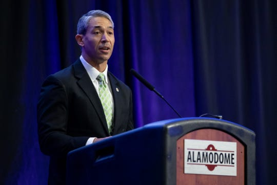 San Antonio Mayor Ron Nirenberg speaks during the announcement of the Selena XXV tribute concert that will be held at the Alamodome in San Antonio on May 9, 2020.