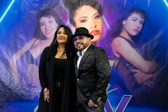 Suzette and A.B. Quintanilla III pose for a photo following the announcement of the Selena XXV tribute concert that will be held at the Alamodome in San Antonio on May 9, 2020.