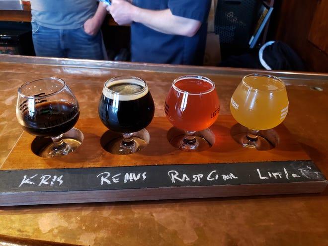 A beer flight at Listermann.