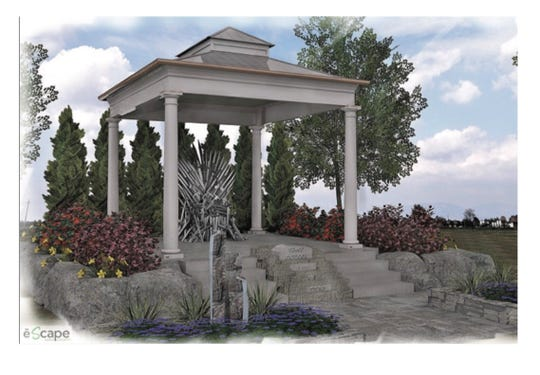 "This display is inspired by a popular TV show and its medieval fantasy. This all-new garden will include a ""rockin' throne"" for guests to take pictures with."