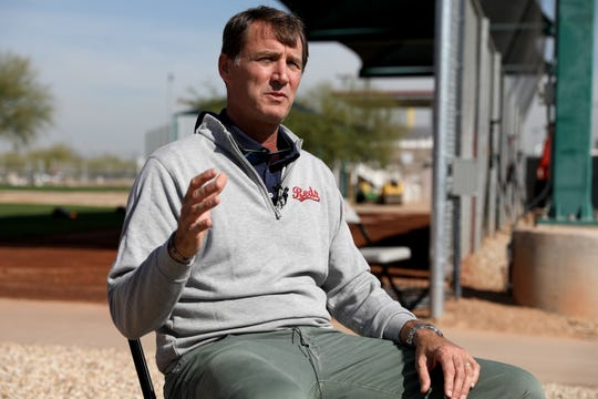 Cincinnati Reds President of Baseball Operations Dick Williams is interviewed by the television press, Tuesday, Feb. 18, 2020, at the baseball team's spring training facility in Goodyear, Ariz.