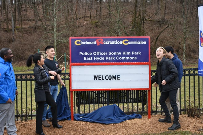 """The East Hyde Park Commons at 3357 Erie Ave. is now the """"Police Officer Sonny Kim Park."""""""