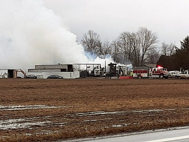 Fire at Sharier Salvation on Ohio 751 in West Lafayette.
