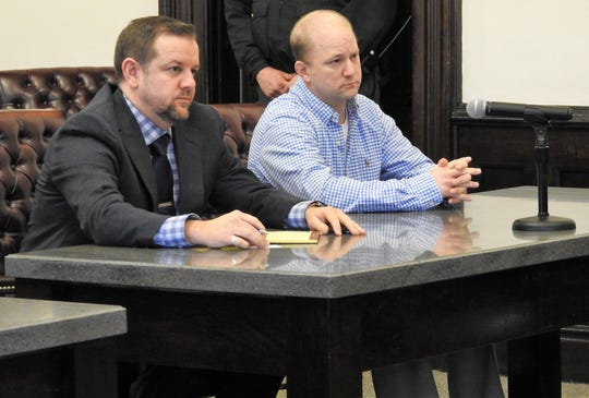 Attorney Keith Melvin with client William R. Watson Tuesday in Coshocton County Common Pleas Court for an arraignment hearing.  Watson entered a not guilty plea for one count of obstruction of justice in relation to the murder of Gilbert Dale Walton Jr.