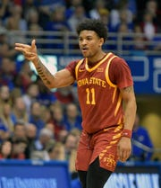 Feb 17, 2020; Lawrence, Kansas, USA; Iowa State Cyclones guard Prentiss Nixon (11) celebrates after scoring a free point basket during the first half against the Kansas Jayhawks at Allen Fieldhouse. Mandatory Credit: Denny Medley-USA TODAY Sports