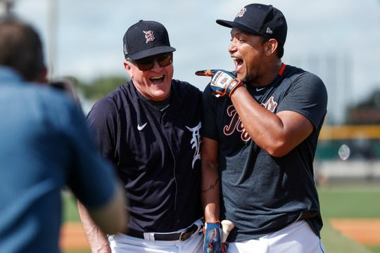 Outfield and base running coach Gene Roof shares a laugh with Miguel Cabrera during Detroit Tigers spring training at TigerTown in Lakeland, Fla., Tuesday, Feb. 18, 2020.