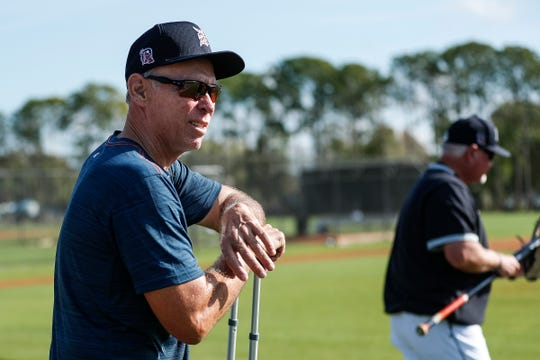 Alan Trammell watches practice during Detroit Tigers spring training at TigerTown in Lakeland, Fla., Tuesday, Feb. 18, 2020.