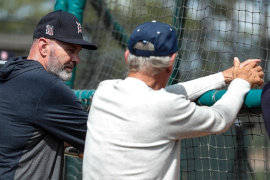 Kirk Gibson, left, talks to Jim Leyland as they watch batting practice during Detroit Tigers spring training at TigerTown in Lakeland, Fla., Tuesday, Feb. 18, 2020.