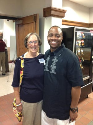 Mary Lackamp pictured with former U-D Jesuit High student Mark Weldon.