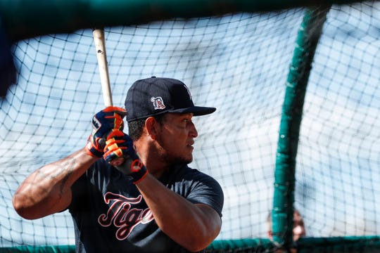 Miguel Cabrera practices in the batting cage during Detroit Tigers spring training at TigerTown in Lakeland, Fla., Tuesday, Feb. 18, 2020.