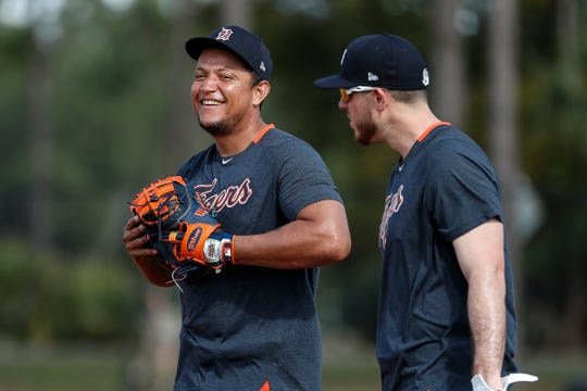 Miguel Cabrera, left, talks to first baseman CJ Cron during the Detroit Tigers' spring training at TigerTown in Lakeland, Florida, Tuesday, February 18, 2020.